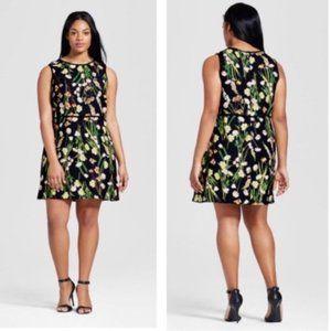 Victoria Beckham Black English Floral Dress 3X